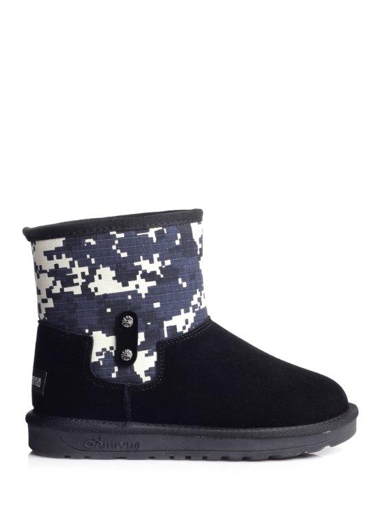 women's Patchwork Suede Color Block Snow Boots - BLACK 35