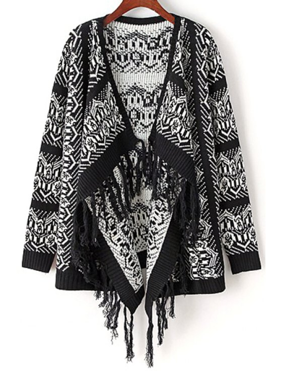 trendy Retro Geometric Print Tassels Long Sleeves Cardigan - BLACK ONE SIZE(FIT SIZE XS TO M)