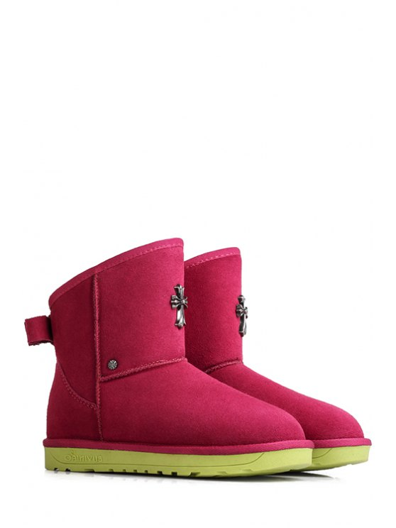 chic Cross Suede Pure Color Snow Boots - ROSE 35