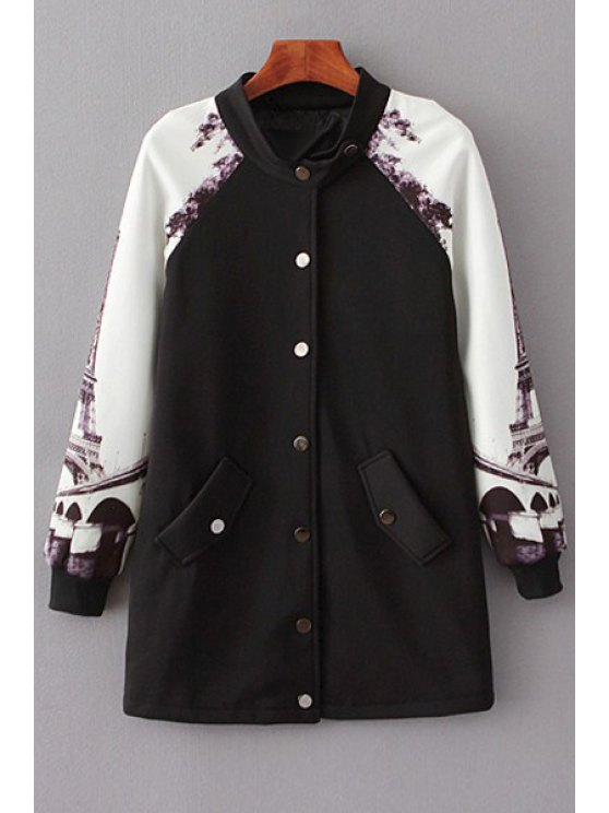 ladies Printed Baseball Stand Collar Long Sleeves Coat - BLACK S
