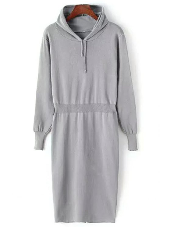 hot Hooded Pure Color Sweater Dress - GRAY ONE SIZE(FIT SIZE XS TO M)