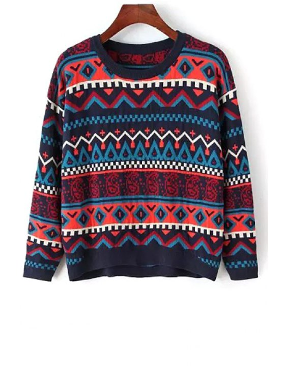 unique Round Neck Ethnic Pattern Jumper - BLACK ONE SIZE(FIT SIZE XS TO M)