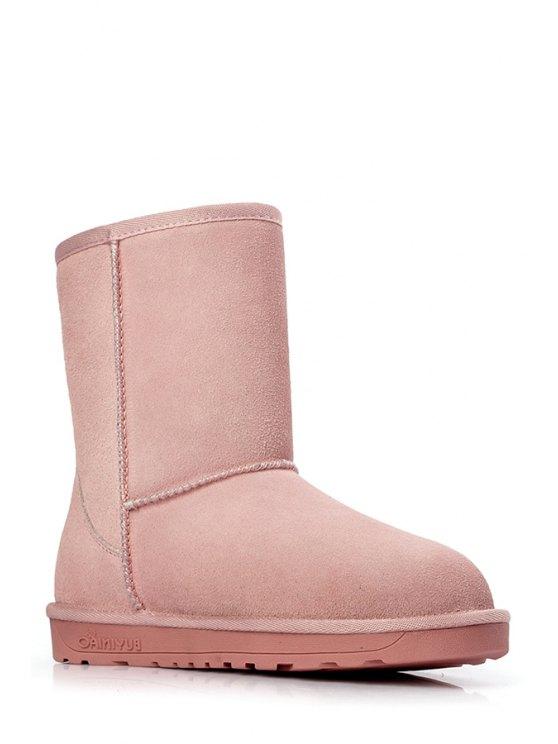 lady Pure Color Suede Platform Snow Boots - PINK 39