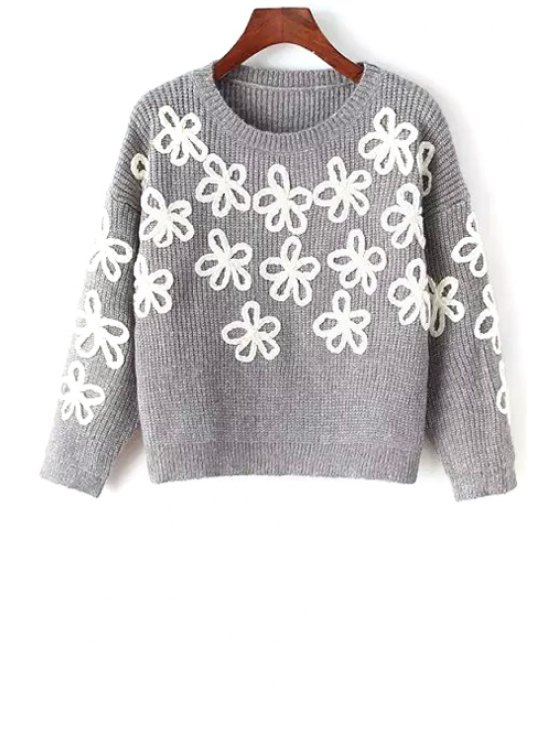 fancy Round Neck Flower Pattern Jumper - GRAY ONE SIZE(FIT SIZE XS TO M)
