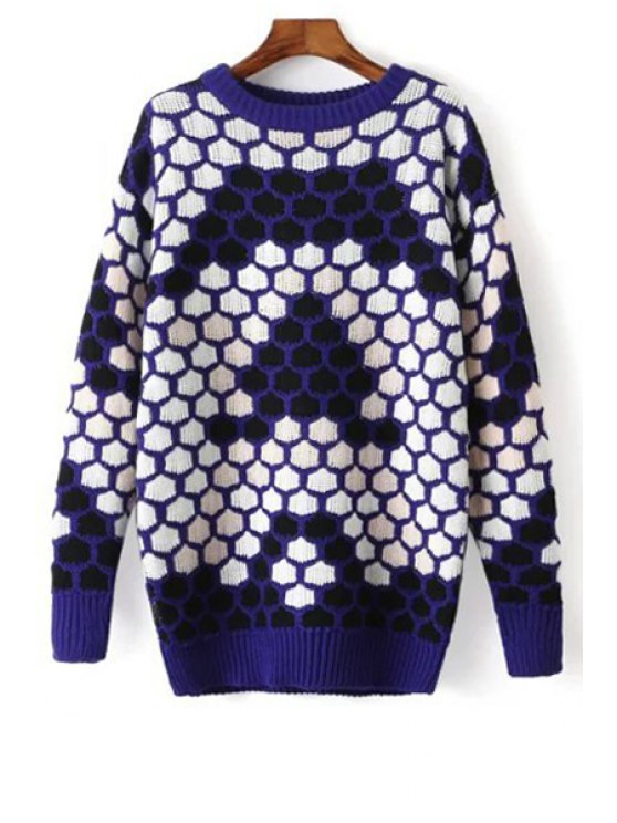 best Honeycomb Pattern Jacquard Sweater - BLUE ONE SIZE(FIT SIZE XS TO M)