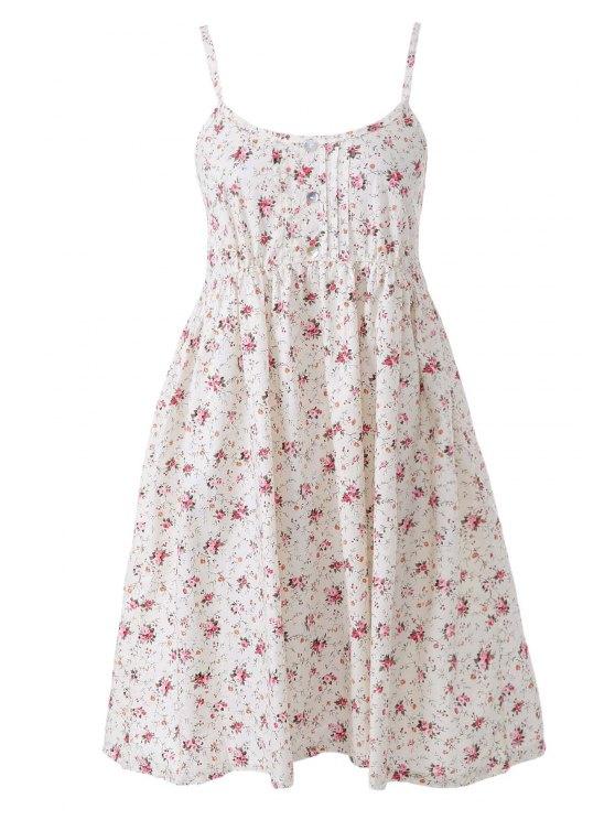 sale Spaghetti Strap Tiny Red Floral Print Dress - AS THE PICTURE ONE SIZE(FIT SIZE XS TO M)
