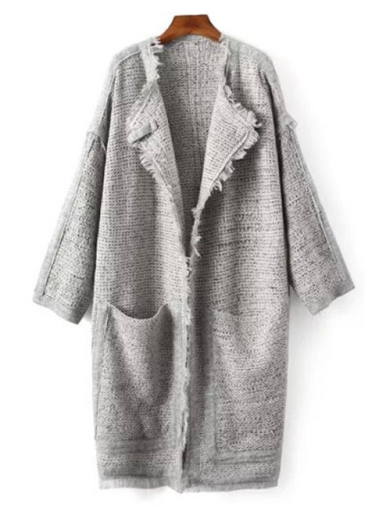 new Fringed Big Pockets Grey Cardigan - GRAY ONE SIZE(FIT SIZE XS TO M)