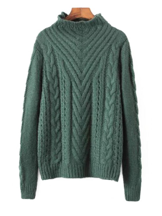 unique Stand Neck Cable Knit Jumper - GREEN ONE SIZE(FIT SIZE XS TO M)