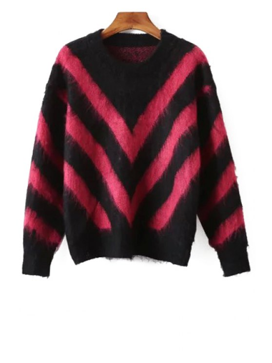 shops Long Sleeve Chevron Stripes Jumper - RED ONE SIZE(FIT SIZE XS TO M)