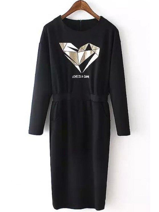 hot Geometric Print Jewel Neck Long Sleeve Dress - BLACK S