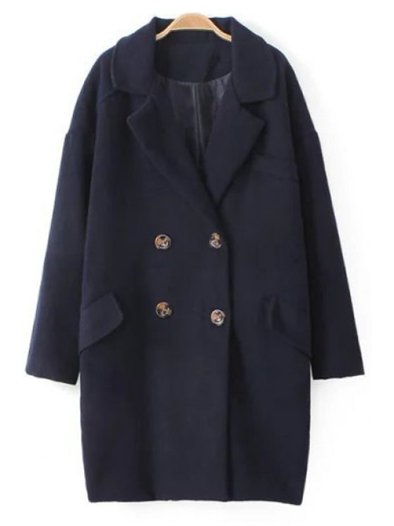 buy Double-Breasted Thick Wool Coat - PURPLISH BLUE M