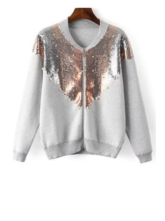 unique Round Neck Sequined Beading Cardigan - WHITE ONE SIZE(FIT SIZE XS TO M)