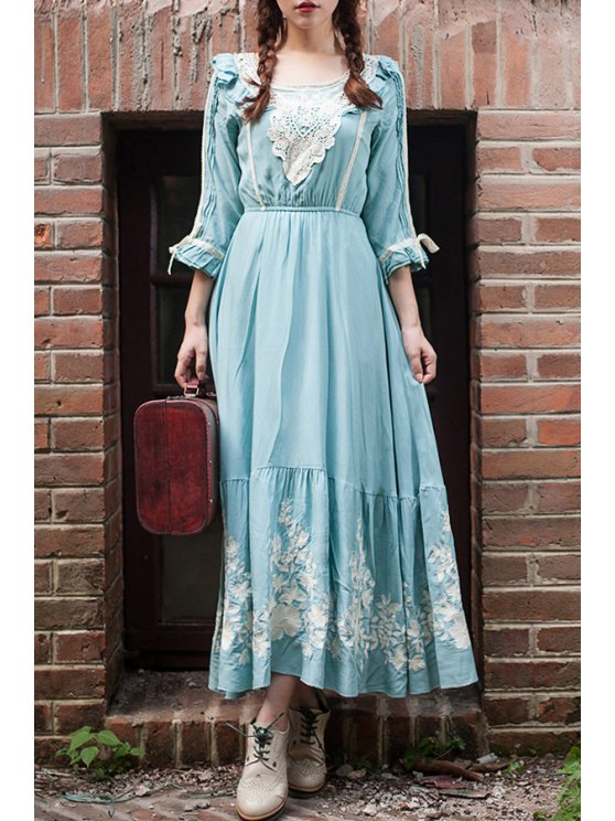 hot Floral Embroidered 3/4 Sleeve Maxi Dress - AZURE S