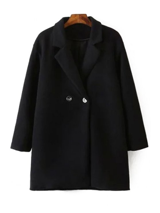 best Lapel Long Sleeve Black Wool Coat - BLACK S