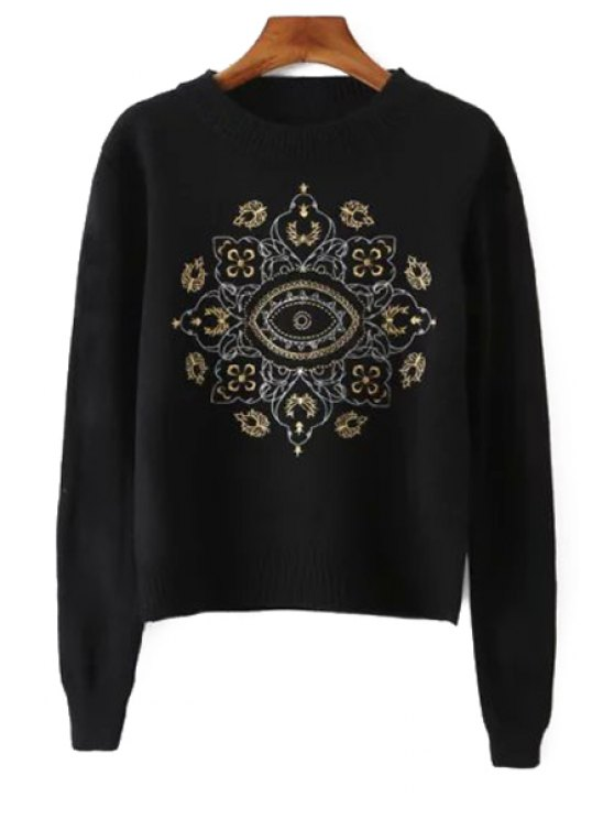 shops Long Sleeve Embroidered Knitwear - BLACK ONE SIZE(FIT SIZE XS TO M)