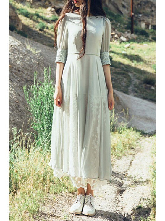 women's Floral Embroidery Half Sleeves Maxi Dress - PEA GREEN S