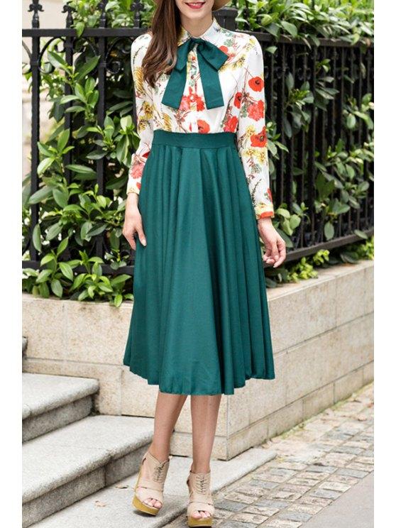 fancy Floral Spliced Long Sleeve Midi Dress - BLACKISH GREEN S