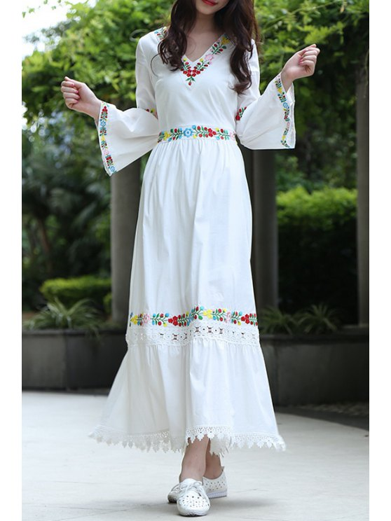 buy V Neck Flower Embaroidery Maxi Dress - WHITE S
