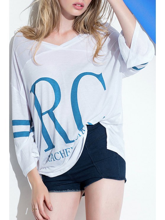 outfits Letter Print Loose-Fitting T-Shirt - WHITE ONE SIZE(FIT SIZE XS TO M)