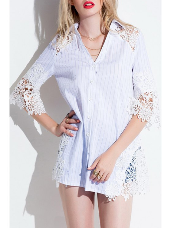 latest Half Sleeve Lace Patchwork Striped Shirt - WHITE S