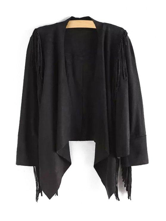 latest Faux Suede Tassels Long Sleeve Coat - BLACK S