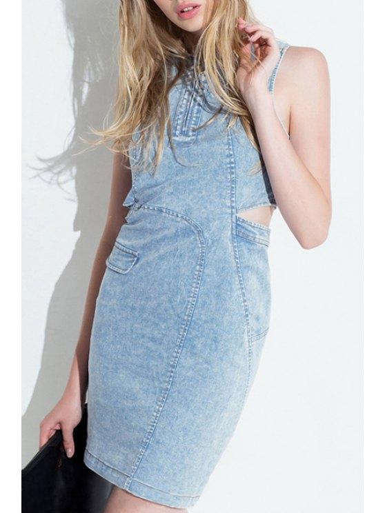 hot Bleach Wash Bare Midriff Denim Dress - LIGHT BLUE XS