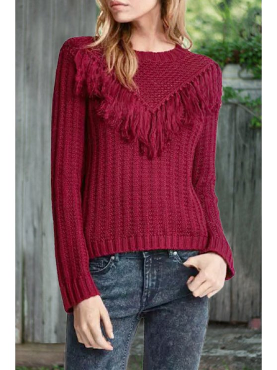 unique Tassels Spliced Long Sleeve Pullover Sweater - RED S