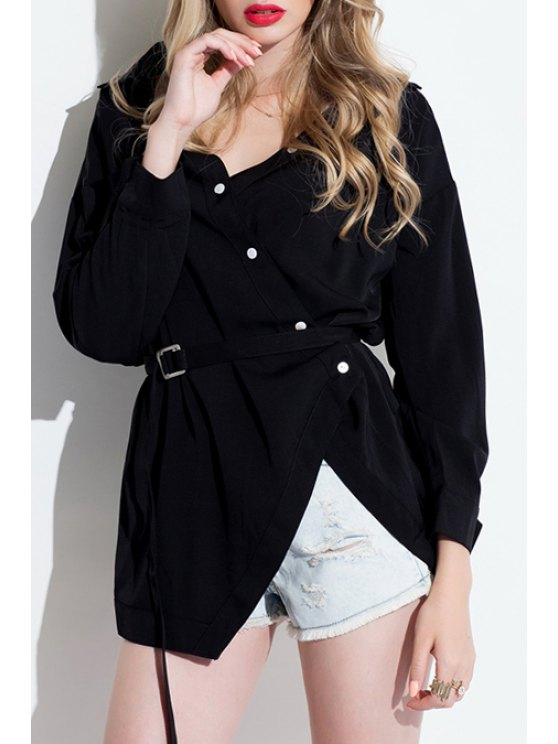 fashion 3/4 Sleeve Single-Breasted Asymmetrical Shirt - BLACK S