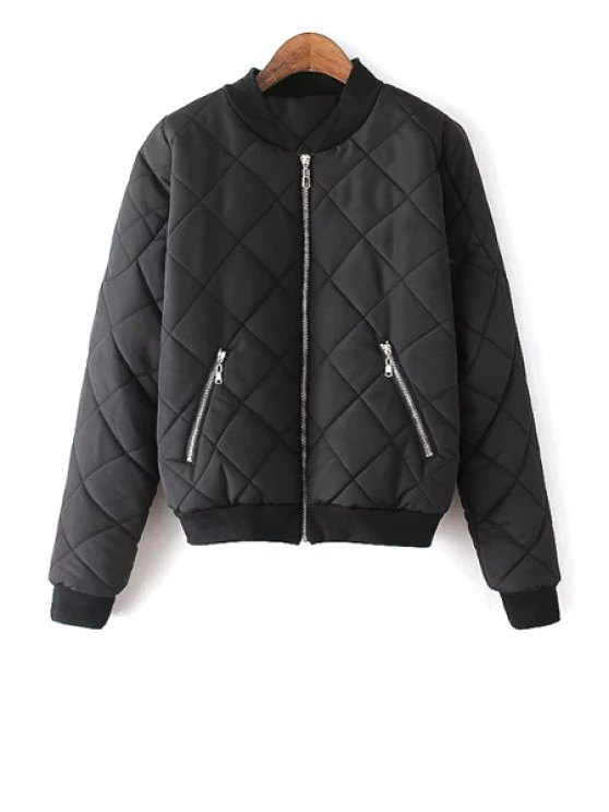 affordable Argyle Pattern Solid Color Stand Collar Thicken Coat - BLACK S