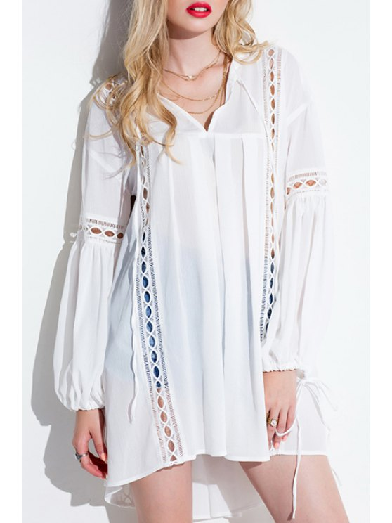 latest Lantern Sleeve White Tunic Dress - WHITE ONE SIZE(FIT SIZE XS TO M)