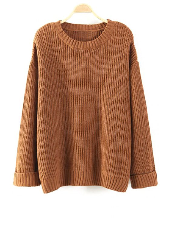 online Pure Color Round Collar Long Sleeves Sweater - KHAKI ONE SIZE(FIT SIZE XS TO M)