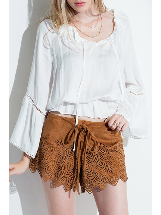 lady Long Bell Sleeve Ruffled White Blouse - WHITE S