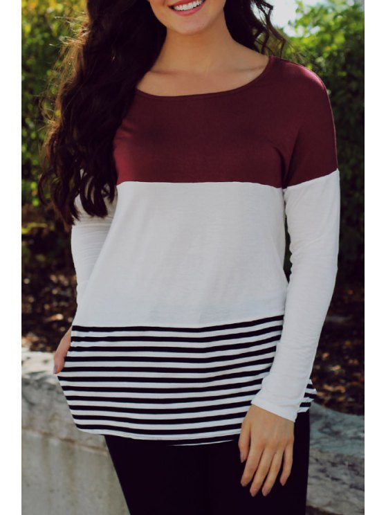 outfits Color Block Lace Spliced Long Sleeve T-Shirt - WINE RED S