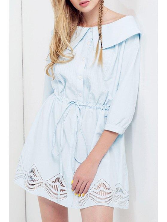 hot Boat Neck Drawstring Design Dress - BLUE S