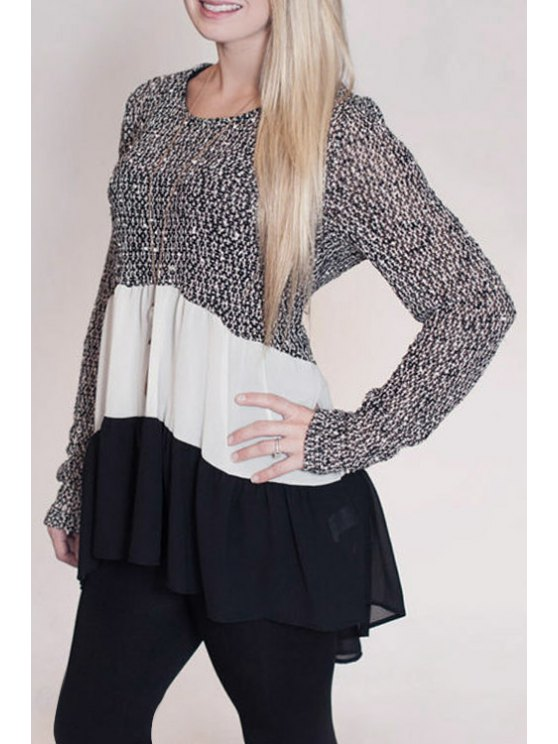 fashion Chiffon Spliced Long Sleeve Knitwear - BLACK GREY S