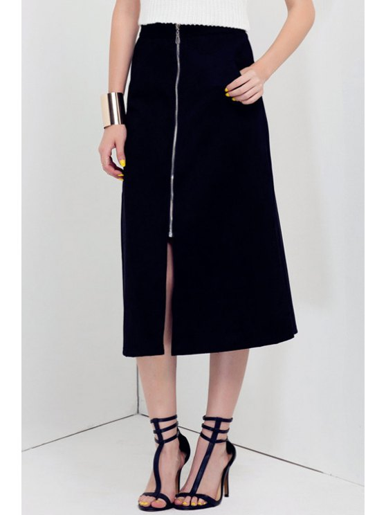 online Zippered A-Line Midi Skirt - BLACK S