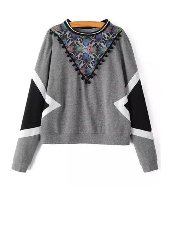 lady Round Collar Long Sleeves Cartoon Print Sweatshirt - GRAY XS