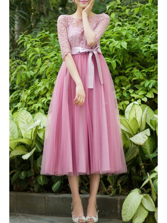 trendy Pink Mesh Spliced Half Sleeve Dress - PINK S