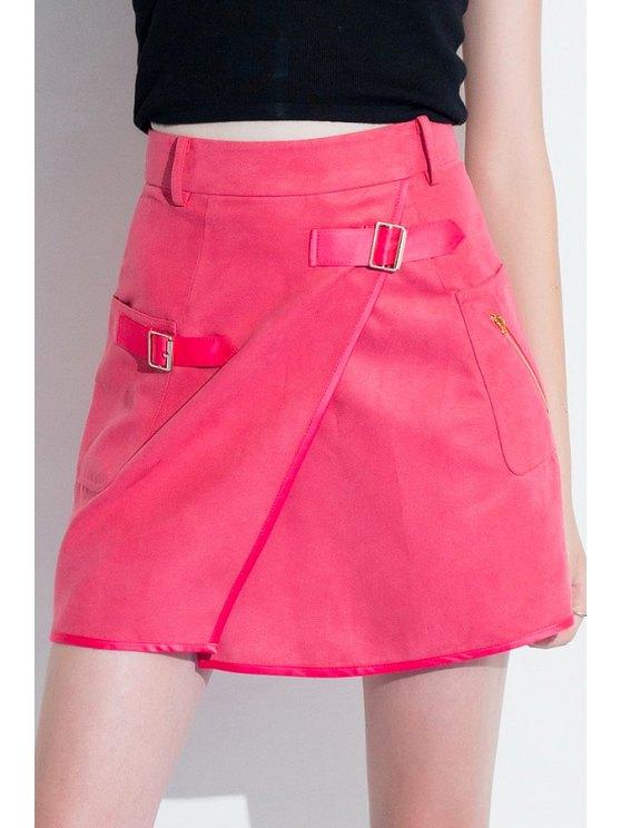 trendy A-Line Pocket Design Red Skirt - ROSE XS