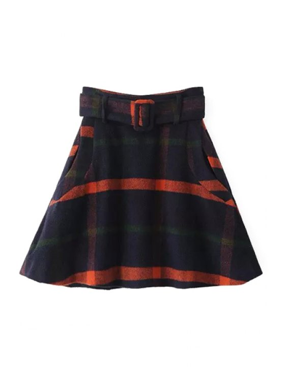 outfit Checked Sashes Pockets Winter Skirt - COLORMIX XS