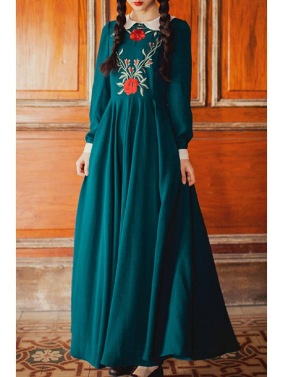 buy Floral Embroidery Peter Pan Collar Dress - BLACKISH GREEN S