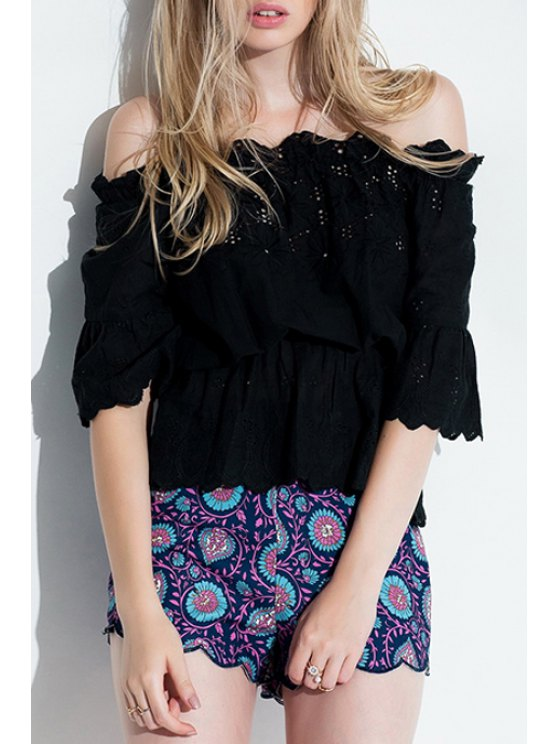 chic Off-The-Shoulder Openwork Blouse - BLACK ONE SIZE(FIT SIZE XS TO M)