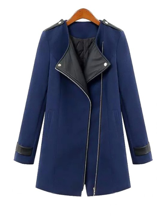 outfit Spliced All Match Turn-Down Collar Long Sleeves Coat - BLUE S
