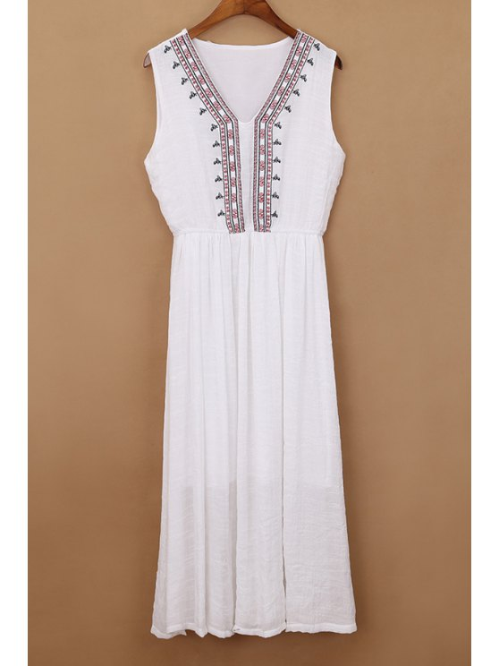 outfit Ethnic Embroidery V Neck Sleeveless Dress - WHITE ONE SIZE(FIT SIZE XS TO M)