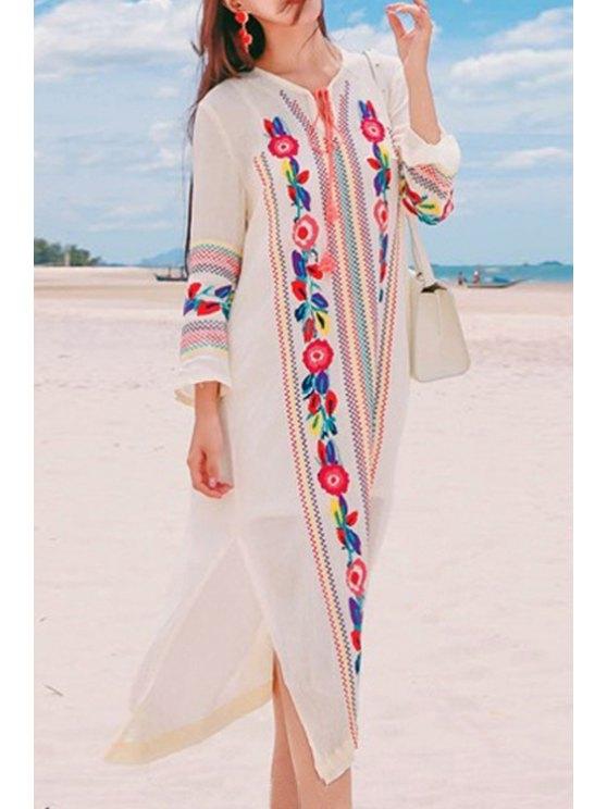 online Embroidered Side Slit Midi Dress - WHITE L