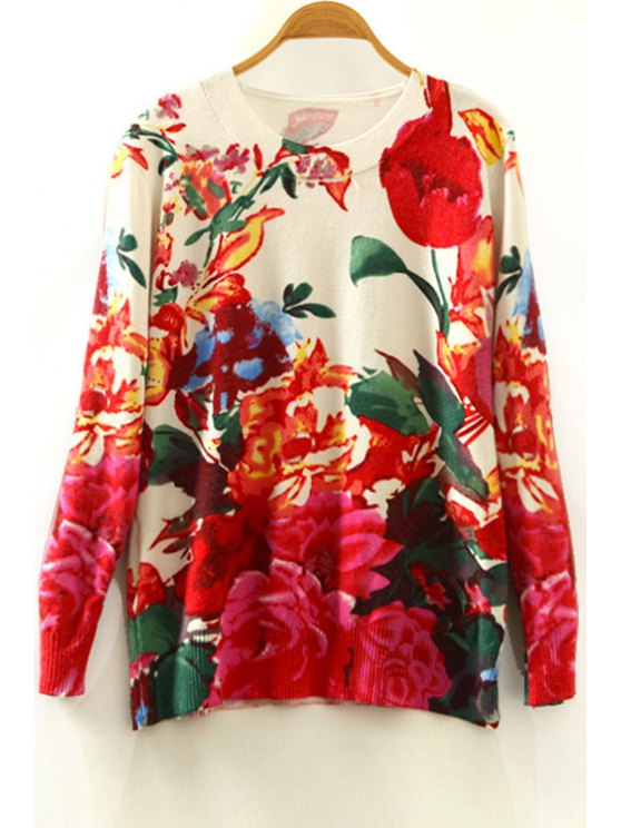 shop Round Collar Flower Print Long Sleeves Sweater - COLORMIX ONE SIZE(FIT SIZE XS TO M)
