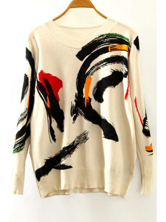 trendy Ink Printing Round Collar Long Sleeves Sweater - BEIGE ONE SIZE(FIT SIZE XS TO M)