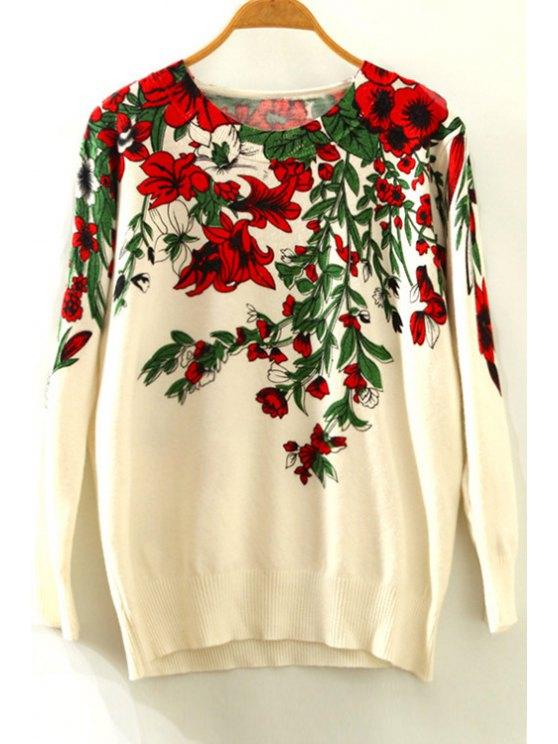 fashion Trumpet Flower Print Round Collar Long Sleeves Sweater - BEIGE ONE SIZE(FIT SIZE XS TO M)