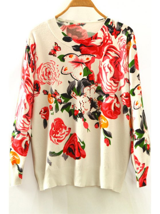 fancy Floral Print Round Collar Long Sleeves Sweater - WHITE ONE SIZE(FIT SIZE XS TO M)