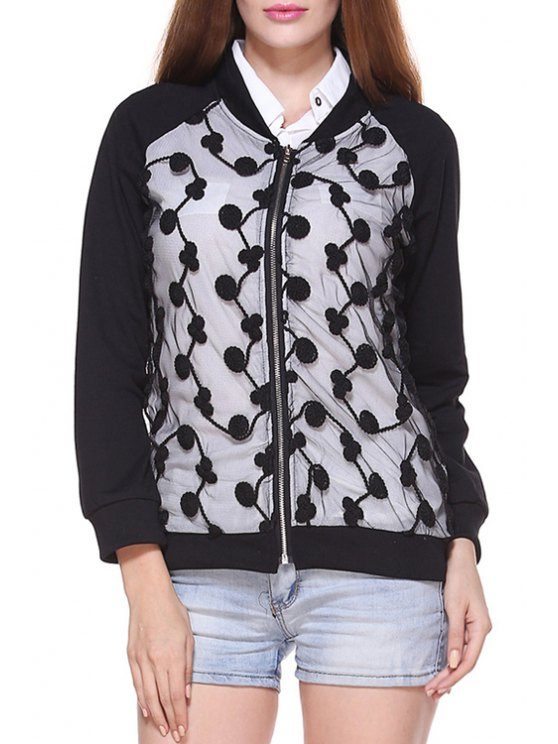 women's Black Lace Splicecd Stand Collar Long Sleeves Jacket - BLACK S